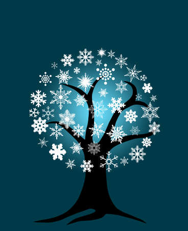 season: Winter Tree with Snowflakes for Christmas on Blue Background Stock Photo