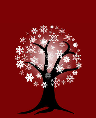 Winter Tree with Snowflakes for Christmas on Red Background Stock Photo - 8346484