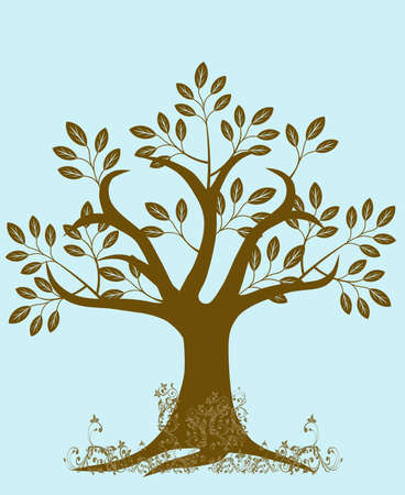Abstract Tree Silhouette with Leaves and Vines on Blue Background photo