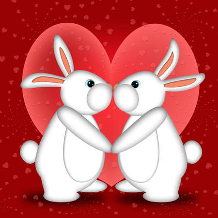 Valentines Day or New Year White Bunny Rabbits Kissing with Hearts Illustration illustration