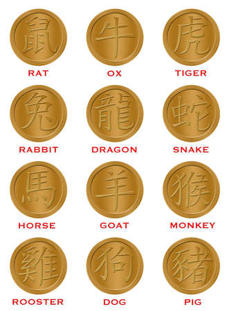 12: Twelve Chinese New Year Zodiac Gold Coins Illustration