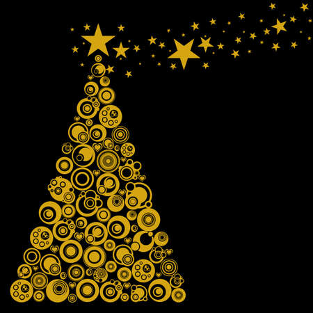 Abstract Christmas Tree with Circles Stars and Hearts Illustration Gold Black illustration