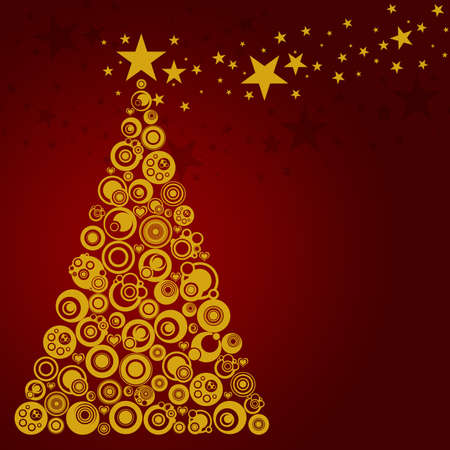 Abstract Christmas Tree with Circles Stars and Hearts Illustration Red Gold Stock Illustration - 8379535