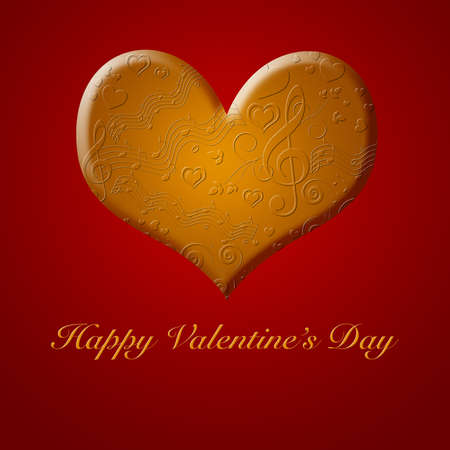celebration background: Happy Valentines Day Musical Notes Songs from the Heart Gold Illustration Stock Photo