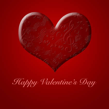Happy Valentines Day Musical Notes Songs from the Heart Red Illustration Stock Photo