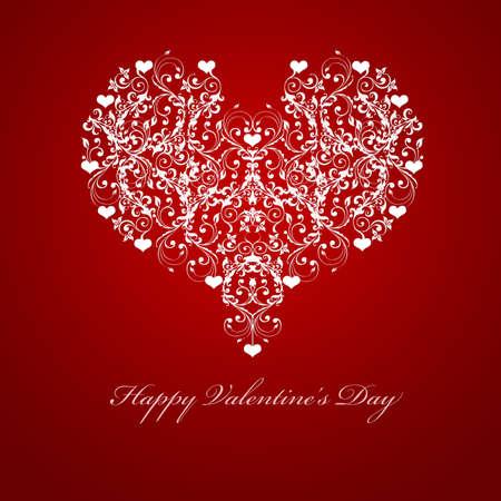 幸せなバレンタインデー エンボス葉つるハート モチーフ イラスト赤