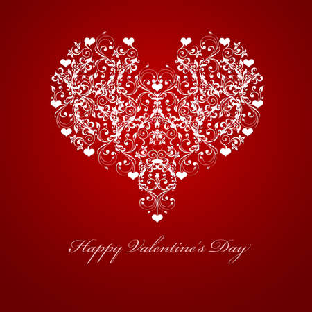 Happy Valentines Day reliëf Leaf Vine Hearts Motif illustratie Red Stockfoto