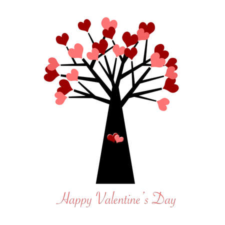 Valentines Day Tree with Red and Pink Hearts Illustration Stock Photo
