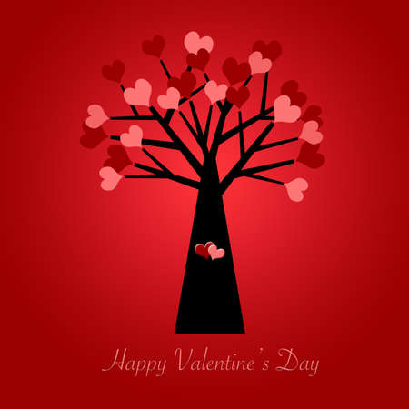 Valentines Day Tree with Red and Pink Hearts Illustration Red Background Stock Photo