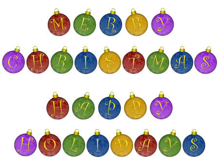 happy holidays text: Merry Christmas Happy Holidays Text on Colorful Ornaments Illustration Stock Photo