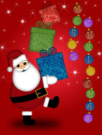 Santa Claus Carrying Stack of Presents Illustration with Merry Christmas Red Background Stock Illustration - 8414167