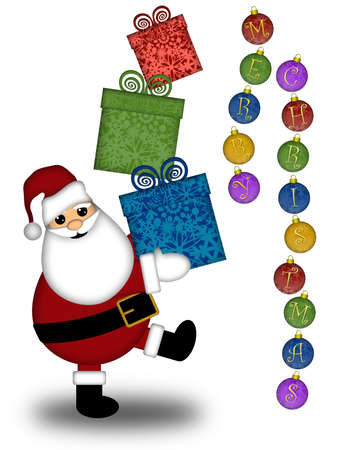 Santa Claus Carrying Stack of Presents Illustration with Merry Christmas Text Stock Illustration - 8414166