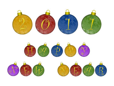 Happy New Year 2011 Text on Colorful Ornaments Illustration Stock Illustration - 8414173
