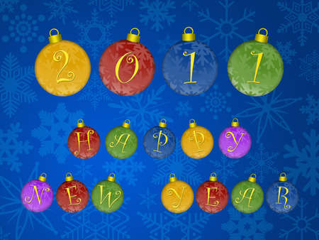 Happy New Year 2011 Text on Colorful Ornaments Illustration Blue Snowflakes Background Stock Illustration - 8414174