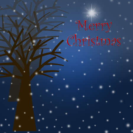 Foggy Christmas Winter Tree Scene with Snowflakes and Star Illustration Stock Illustration - 8414172