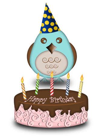Happy Birthday Blue Bird mit Cake Candles Cone Hat Illustration Standard-Bild - 8414175