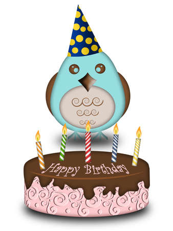 Happy Birthday Blue Bird with Cake Candles Cone Hat Illustration
