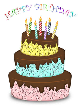 Happy Birthday Three Layer Funny Cake with Colorful Candles Illustration