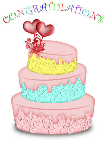 Wedding Cake Tree Tiered with Hearts and Flowers Illustration