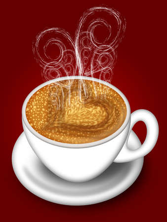 Cup of Latte Cappuccino with Hot Steamy Hearts Illustration on Red Imagens