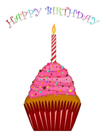 Happy Birthday Cupcake with Pink Frosting and Candle Illustration