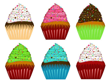 Colorful Cupcakes with Frosting and Chocolate Chips Illustration illustration