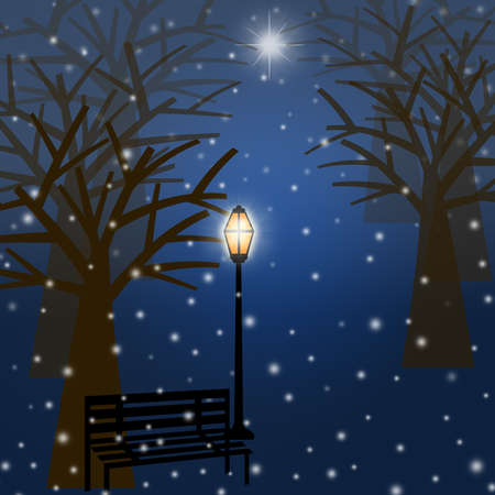 Foggy Christmas Winter Park Scene with Snowflakes and Star Illustration