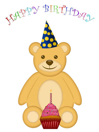 Birthday Teddy Bear with Party Hat and Cupcake Illustration illustration