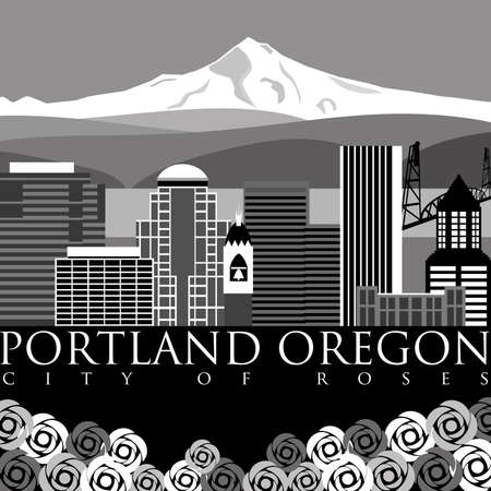 Portland Oregon Downtown Skyline with Mount Hood and River Illustration illustration