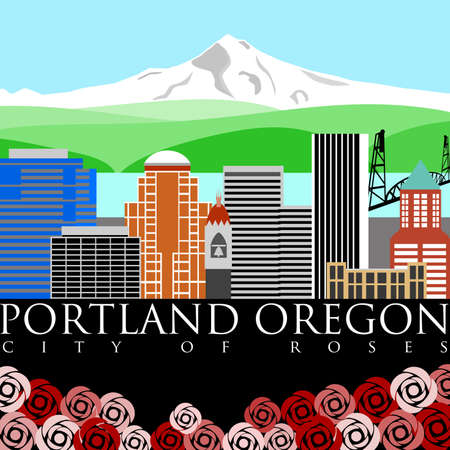 Portland Oregon Downtown Skyline with Mount Hood and River Color Illustration