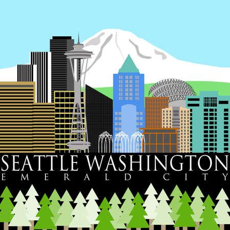 マウント ・ レーニエ カラー イラスト ワシントン州シアトルのダウンタウンのスカイライン 写真素材