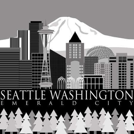 Seattle Washington Downtown Skyline with Mount Rainier Illustration