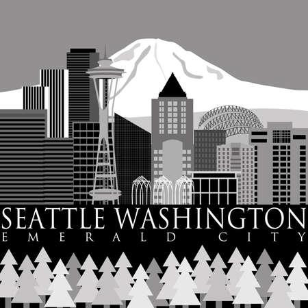 seattle skyline: Seattle Washington Downtown Skyline with Mount Rainier Illustration