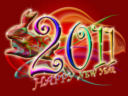 Chinese New Year 2011 Colorful Leaping Rabbit with Swirls Illustration illustration