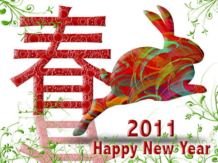 joyous: Happy Chinese New Year 2011 with Colorful Rabbit and Spring Symbol Illustration