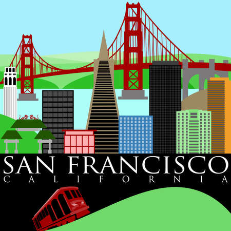 cable car: San Francisco California Skyline with Golden Gate Bridge by the Bay Illustration Stock Photo