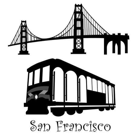 San Francisco ゴールデン ゲート ブリッジ、ケーブルカー トロリーの黒と白のイラスト 写真素材