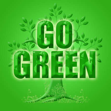 go green: Go Green with Eco Tree Leaves and Planet Illustration