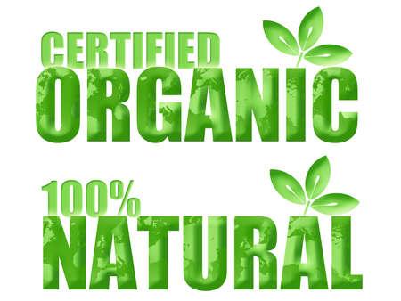 공인 유기 및 리프와 세계 일러스트와 함께 100 % 자연 기호 스톡 콘텐츠