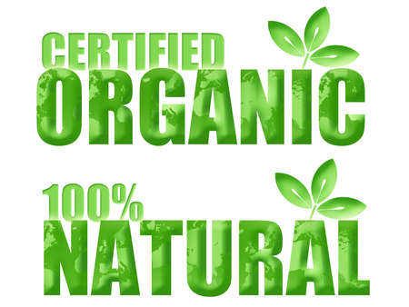Certified Organic and 100% Natural Symbols with Leaf and World Illustration Archivio Fotografico