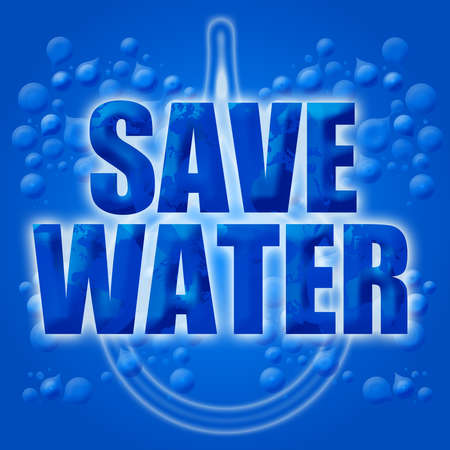 conserve: Eco Earth Friendly Save Conserve Water Illustration Blue Background