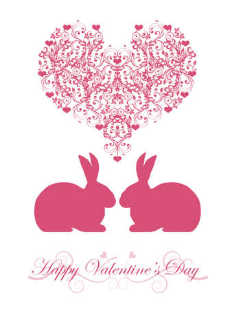 Happy Valentines Day Bunny Rabbit with Pink Hearts and Scrolls Illustration Stock Photo