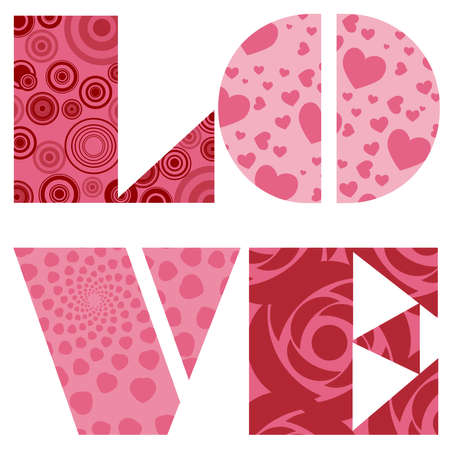 Love Text for Valentines Day Wedding or Anniversary Illustration in Pink