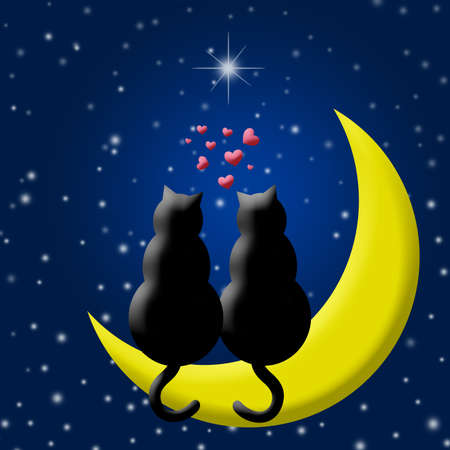 Happy Valentines Day Cats in Love Sitting on Moon and Hearts Silhouette Illustration