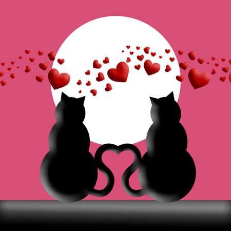 silueta de gato: Feliz día de San Valentín de gatos en el amor con la Luna y la ilustración de silueta de corazones