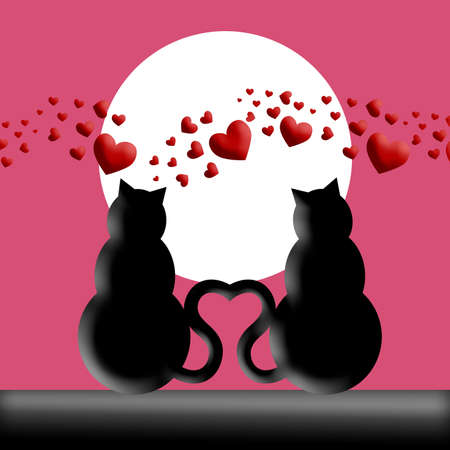 Happy Valentines Day Cats in Love with Moon and Hearts Silhouette Illustration