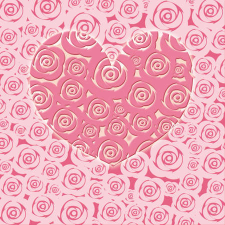 Happy Valentines Day Heart with Pink Roses Illustration