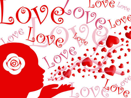 Woman Blowing Kisses of Red Pink Hearts and Love Illustration on White Background illustration