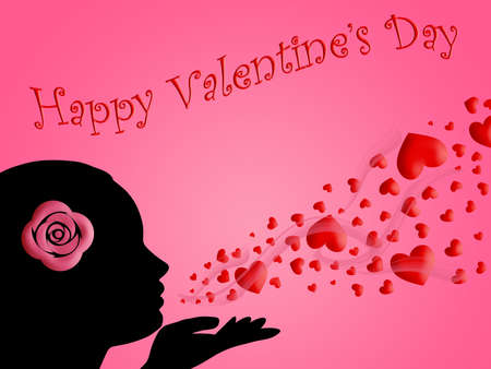Happy Valentines Day Woman Blowing Kisses of Hearts Illustration illustration