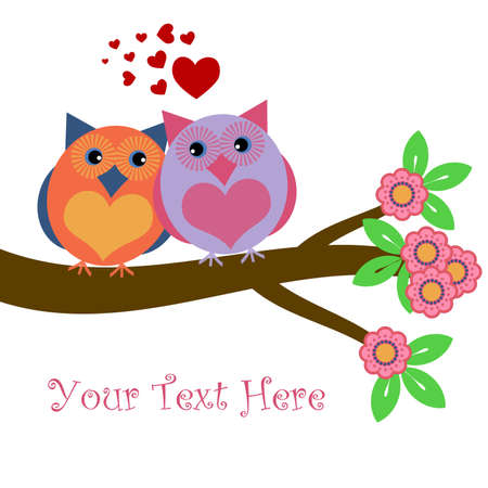 Owls in Love Sitting on Tree Branch with Hearts and Flowers Illustration illustration